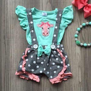 Other - Boutique Cow Suspender Shorts Girls Outfit Set